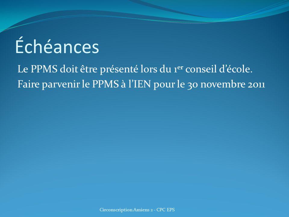 Échéances Le PPMS doit être présenté lors du 1 er conseil décole. Faire parvenir le PPMS à lIEN pour le 30 novembre 2011 Circonscription Amiens 2 - CP
