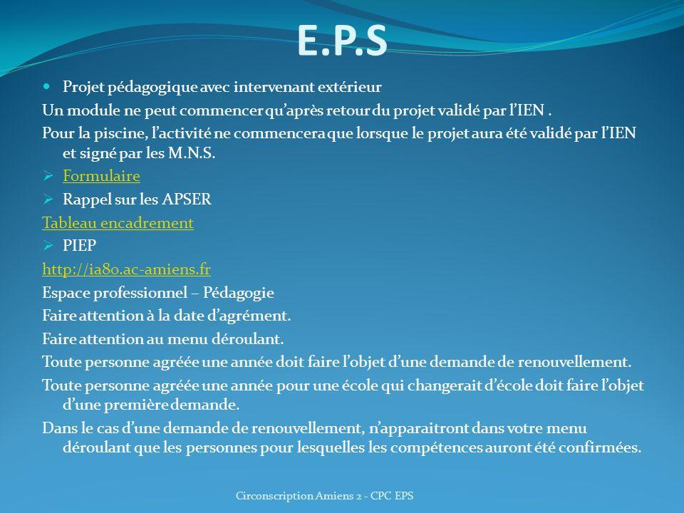 E.P.S Projet pédagogique avec intervenant extérieur Un module ne peut commencer quaprès retour du projet validé par lIEN. Pour la piscine, lactivité n