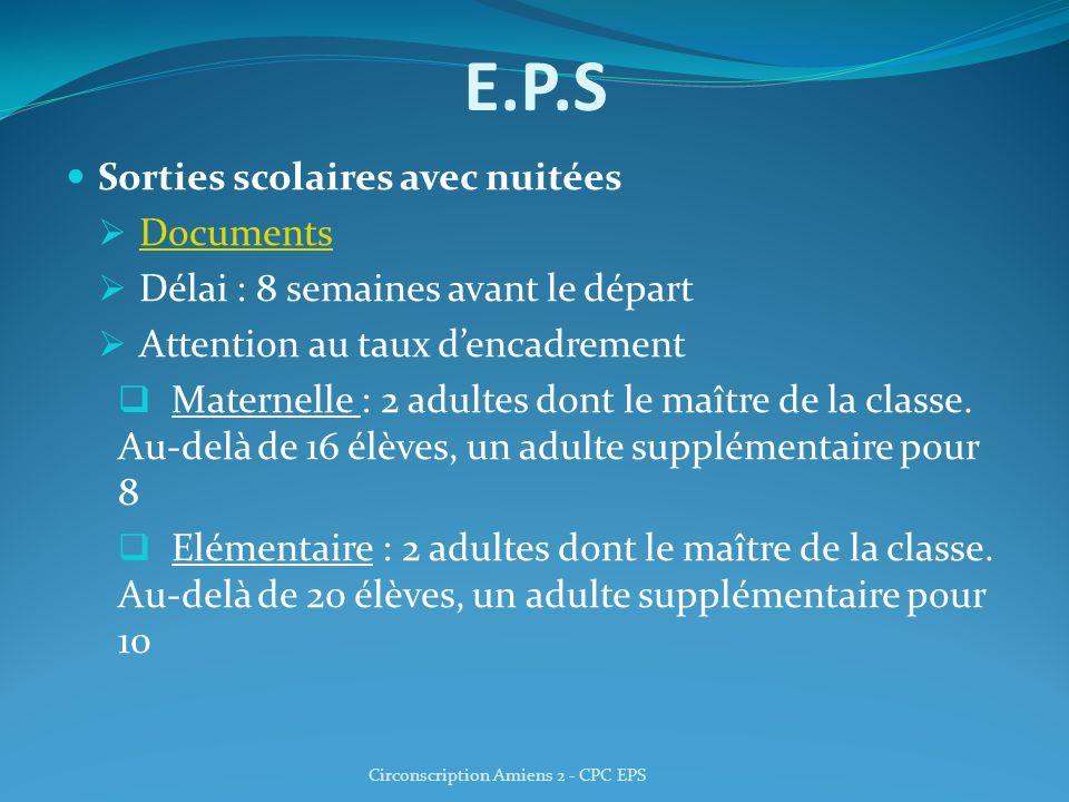 E.P.S Sorties scolaires avec nuitées Documents Délai : 8 semaines avant le départ Attention au taux dencadrement Maternelle : 2 adultes dont le maître de la classe.