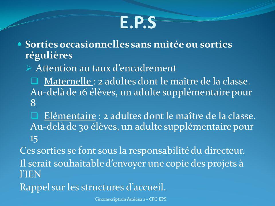 E.P.S Sorties occasionnelles sans nuitée ou sorties régulières Attention au taux dencadrement Maternelle : 2 adultes dont le maître de la classe. Au-d