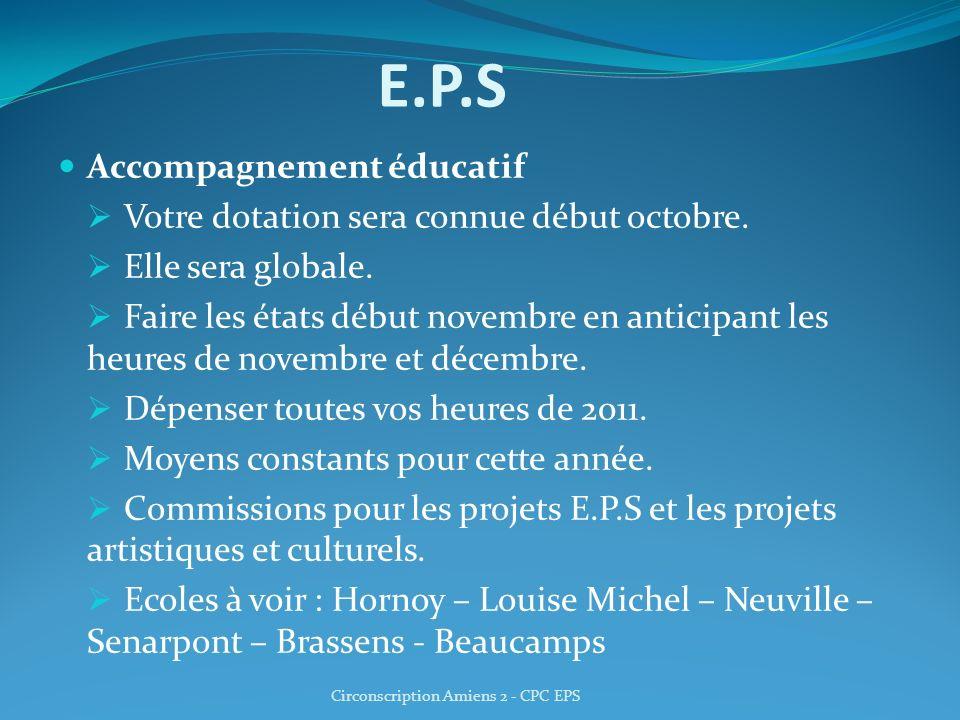 E.P.S Accompagnement éducatif Votre dotation sera connue début octobre. Elle sera globale. Faire les états début novembre en anticipant les heures de