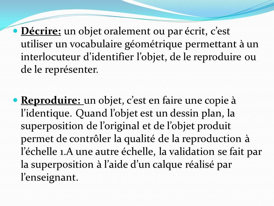 Décrire: un objet oralement ou par écrit, cest utiliser un vocabulaire géométrique permettant à un interlocuteur didentifier lobjet, de le reproduire