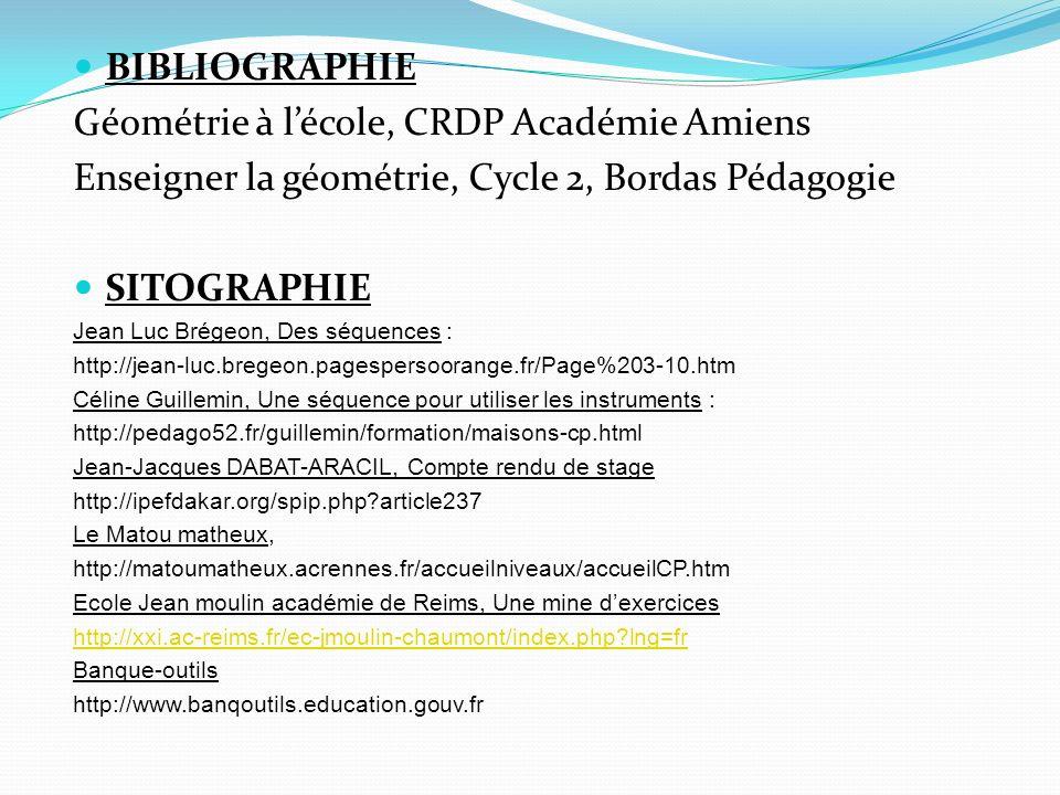 BIBLIOGRAPHIE Géométrie à lécole, CRDP Académie Amiens Enseigner la géométrie, Cycle 2, Bordas Pédagogie SITOGRAPHIE Jean Luc Brégeon, Des séquences :