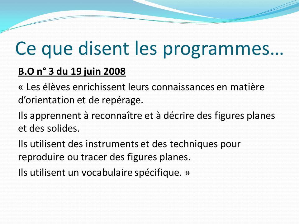 BIBLIOGRAPHIE Géométrie à lécole, CRDP Académie Amiens Enseigner la géométrie, Cycle 2, Bordas Pédagogie SITOGRAPHIE Jean Luc Brégeon, Des séquences : http://jean-luc.bregeon.pagespersoorange.fr/Page%203-10.htm Céline Guillemin, Une séquence pour utiliser les instruments : http://pedago52.fr/guillemin/formation/maisons-cp.html Jean-Jacques DABAT-ARACIL, Compte rendu de stage http://ipefdakar.org/spip.php?article237 Le Matou matheux, http://matoumatheux.acrennes.fr/accueilniveaux/accueilCP.htm Ecole Jean moulin académie de Reims, Une mine dexercices http://xxi.ac-reims.fr/ec-jmoulin-chaumont/index.php?lng=fr Banque-outils http://www.banqoutils.education.gouv.fr
