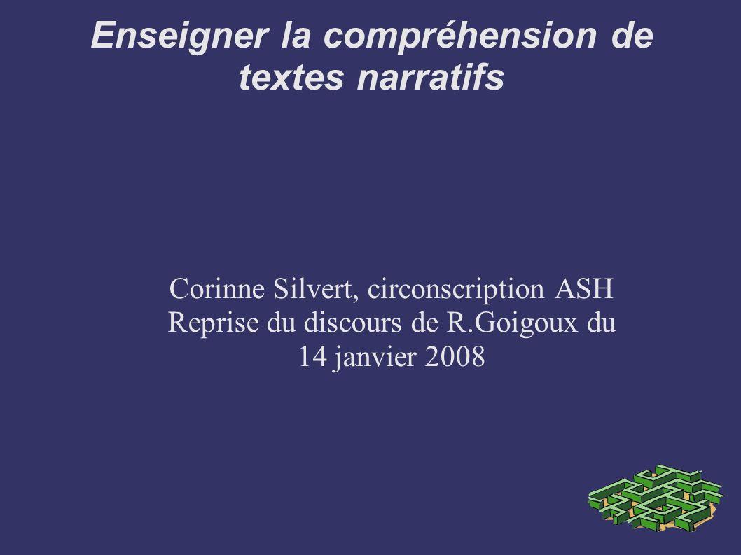 Enseigner la compréhension de textes narratifs Corinne Silvert, circonscription ASH Reprise du discours de R.Goigoux du 14 janvier 2008