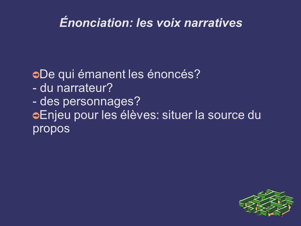 Énonciation: les voix narratives De qui émanent les énoncés? - du narrateur? - des personnages? Enjeu pour les élèves: situer la source du propos