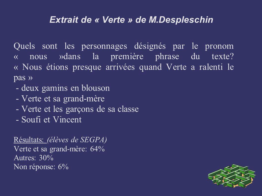 Extrait de « Verte » de M.Despleschin Quels sont les personnages désignés par le pronom « nous »dans la première phrase du texte? « Nous étions presqu