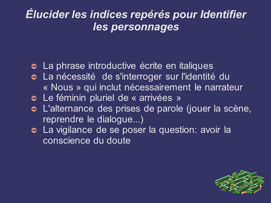 Élucider les indices repérés pour Identifier les personnages La phrase introductive écrite en italiques La nécessité de s'interroger sur l'identité du