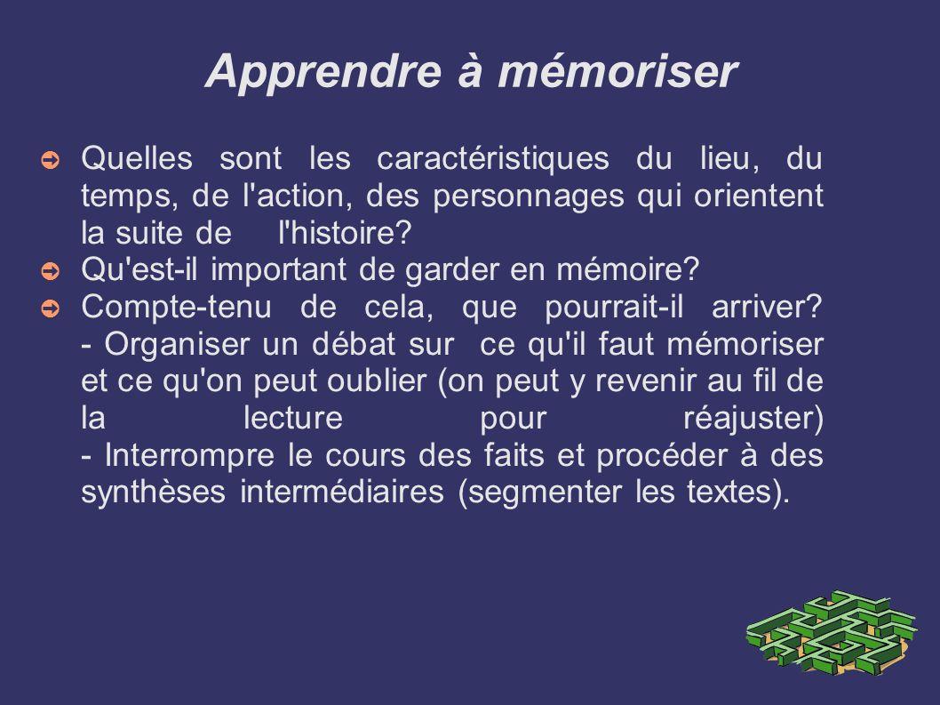 Apprendre à mémoriser Quelles sont les caractéristiques du lieu, du temps, de l'action, des personnages qui orientent la suite de l'histoire? Qu'est-i