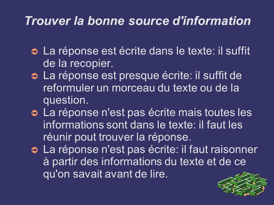 Trouver la bonne source d'information La réponse est écrite dans le texte: il suffit de la recopier. La réponse est presque écrite: il suffit de refor