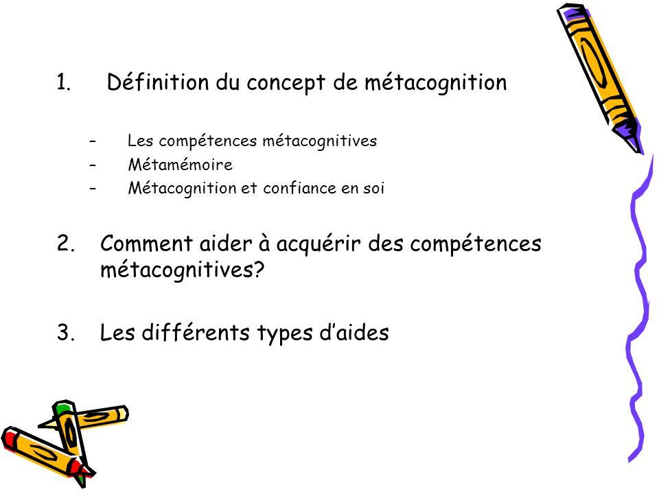 1. Définition du concept de métacognition –Les compétences métacognitives –Métamémoire –Métacognition et confiance en soi 2.Comment aider à acquérir d
