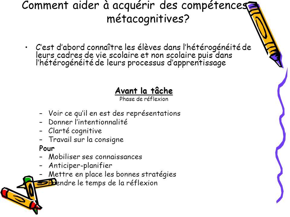 Comment aider à acquérir des compétences métacognitives? Cest dabord connaître les élèves dans lhétérogénéité de leurs cadres de vie scolaire et non s