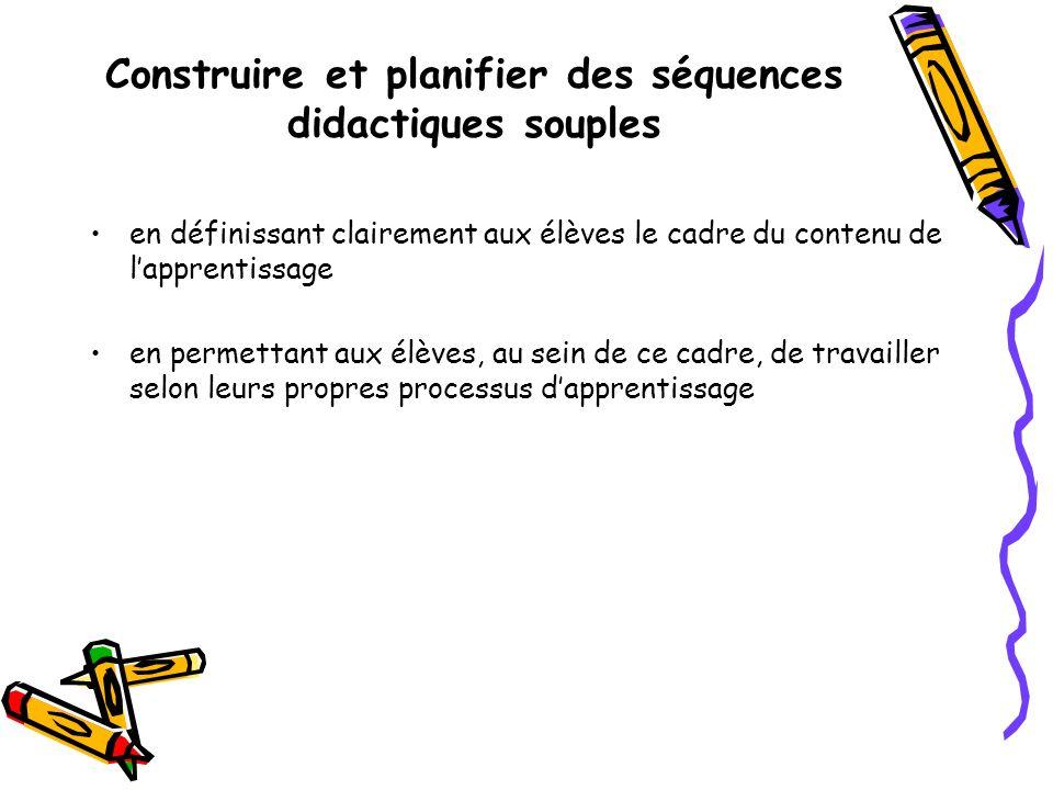 Construire et planifier des séquences didactiques souples en définissant clairement aux élèves le cadre du contenu de lapprentissage en permettant aux