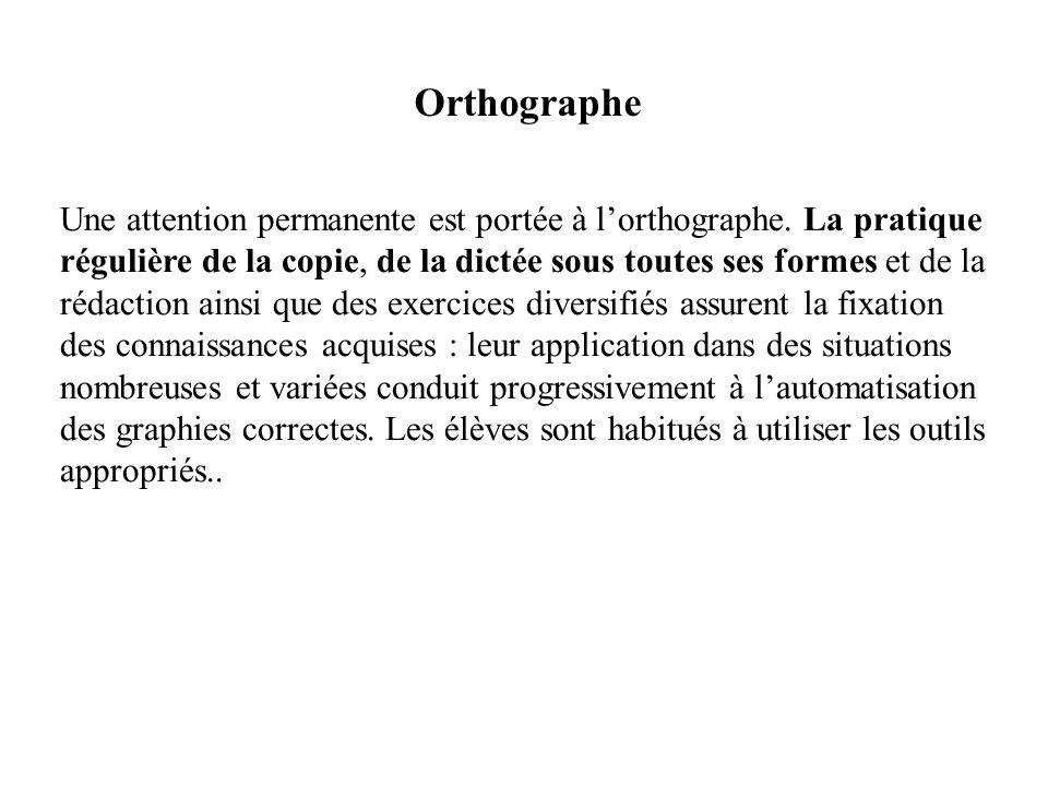 Orthographe Une attention permanente est portée à lorthographe. La pratique régulière de la copie, de la dictée sous toutes ses formes et de la rédact