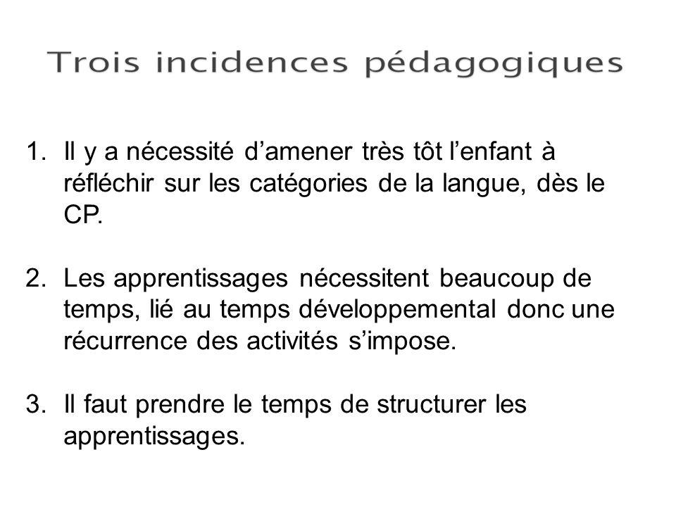 1.Il y a nécessité damener très tôt lenfant à réfléchir sur les catégories de la langue, dès le CP. 2.Les apprentissages nécessitent beaucoup de temps