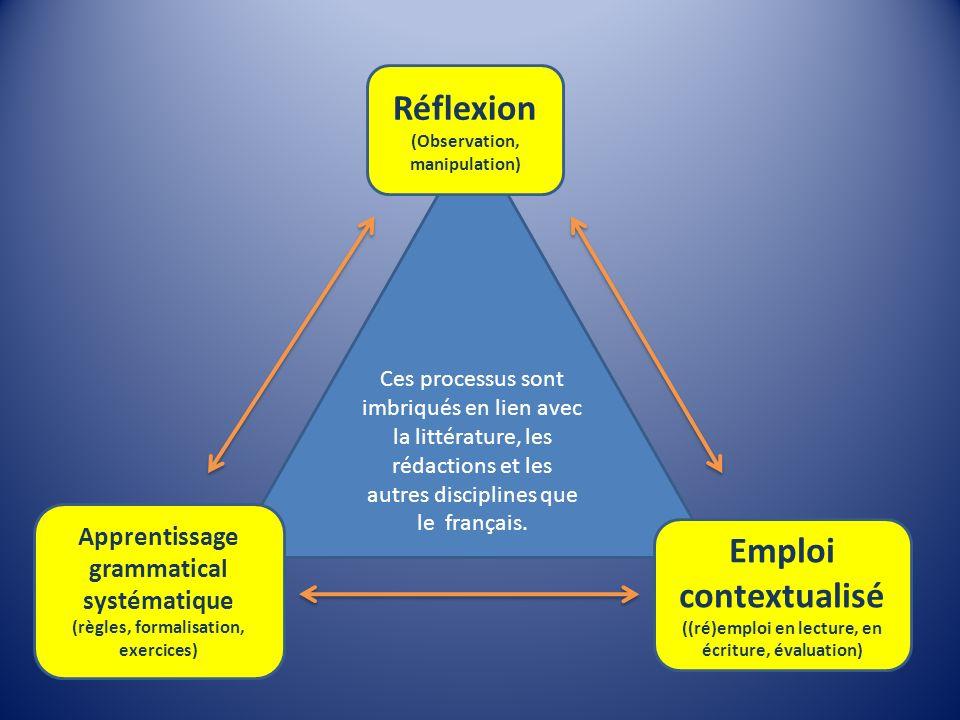 Ces processus sont imbriqués en lien avec la littérature, les rédactions et les autres disciplines que le français. Réflexion (Observation, manipulati