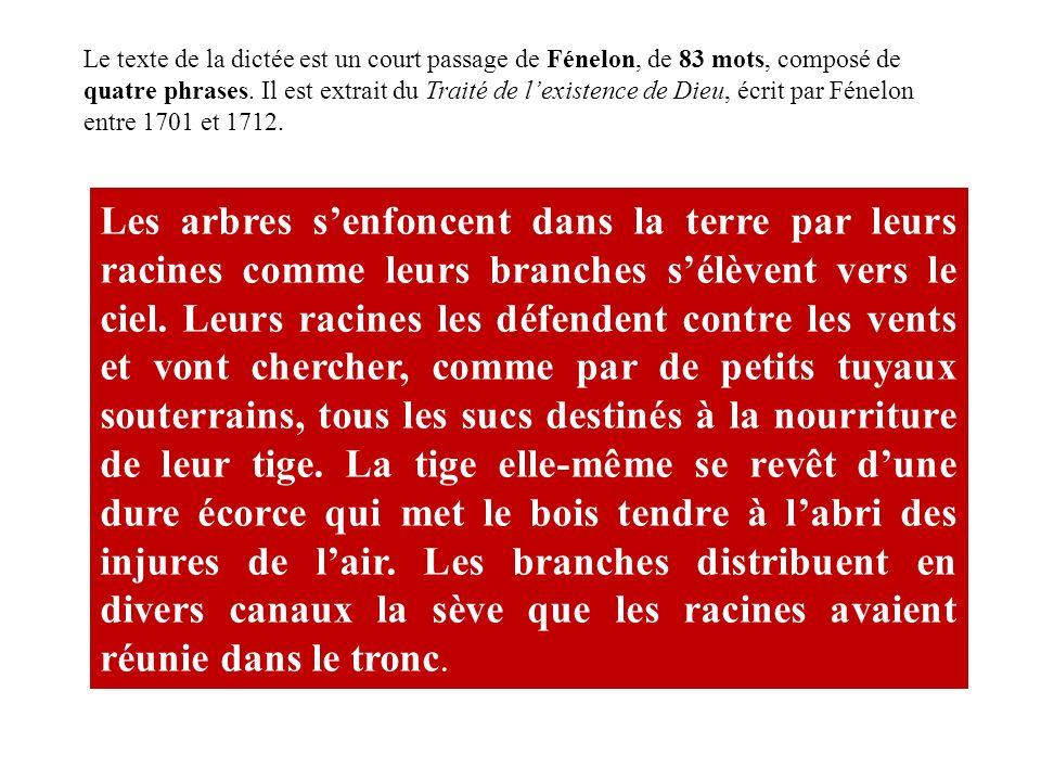 Le texte de la dictée est un court passage de Fénelon, de 83 mots, composé de quatre phrases. Il est extrait du Traité de lexistence de Dieu, écrit pa