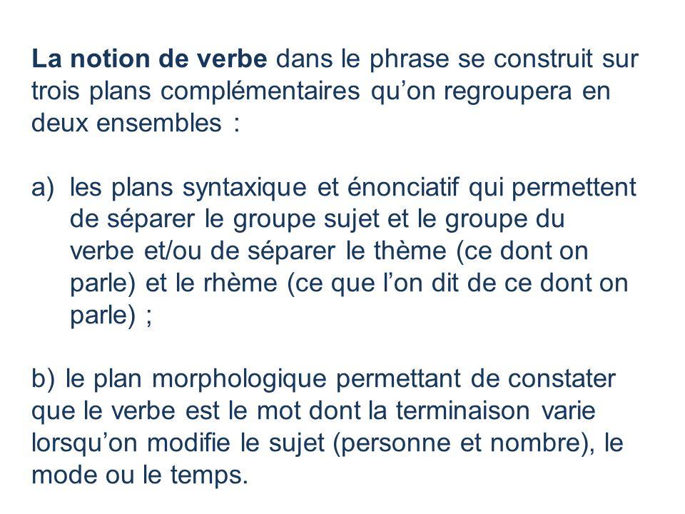 La notion de verbe dans le phrase se construit sur trois plans complémentaires quon regroupera en deux ensembles : a)les plans syntaxique et énonciati