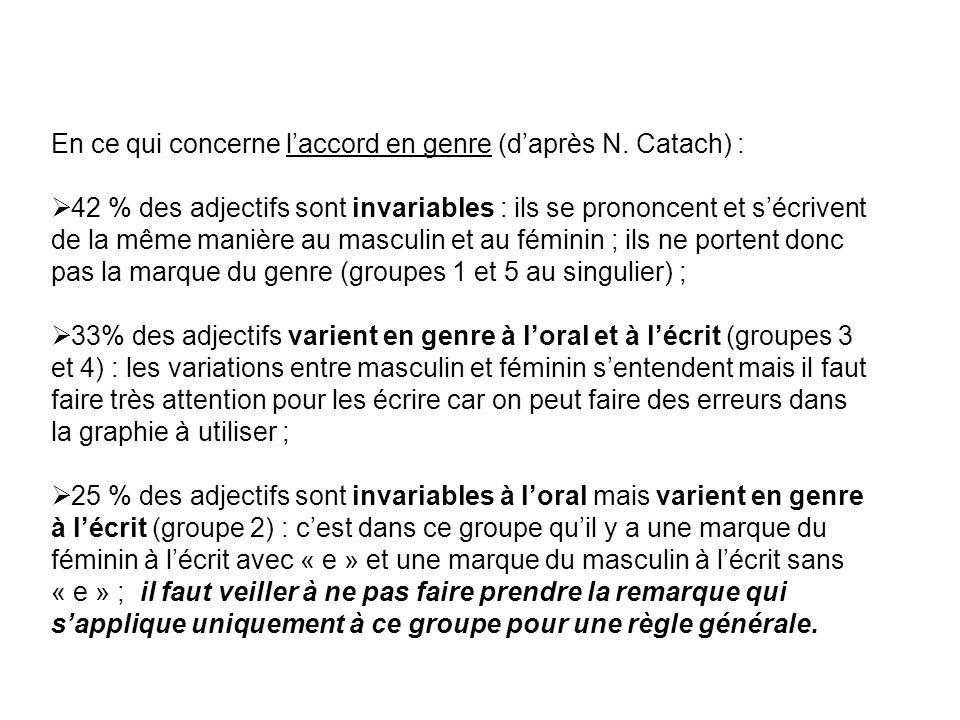 En ce qui concerne laccord en genre (daprès N. Catach) : 42 % des adjectifs sont invariables : ils se prononcent et sécrivent de la même manière au ma