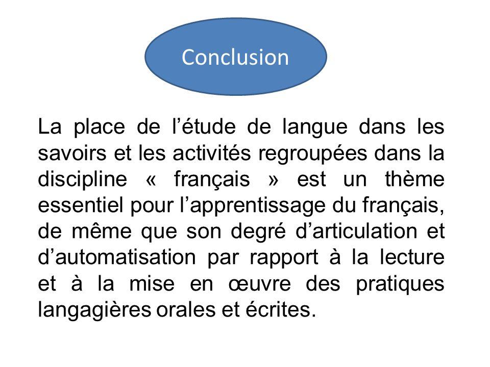 La place de létude de langue dans les savoirs et les activités regroupées dans la discipline « français » est un thème essentiel pour lapprentissage d