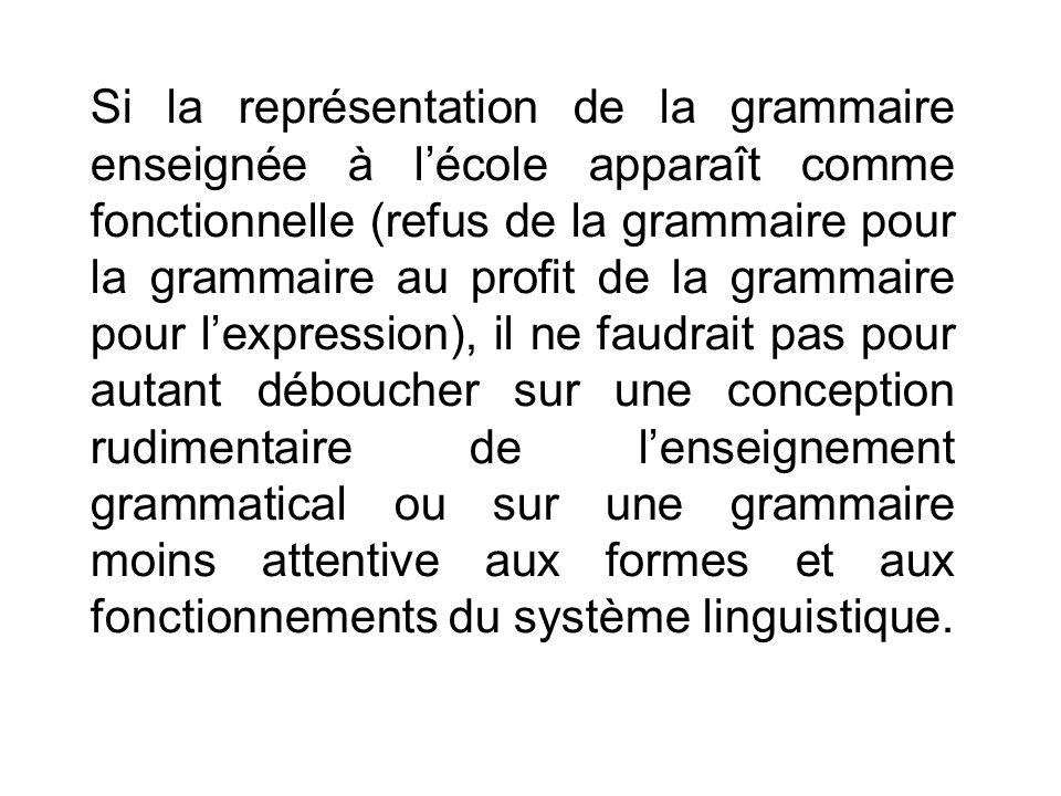 Si la représentation de la grammaire enseignée à lécole apparaît comme fonctionnelle (refus de la grammaire pour la grammaire au profit de la grammair