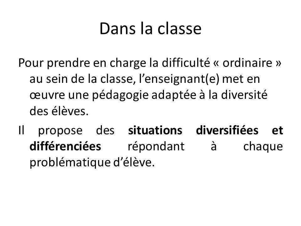 Dans la classe Pour prendre en charge la difficulté « ordinaire » au sein de la classe, lenseignant(e) met en œuvre une pédagogie adaptée à la diversité des élèves.