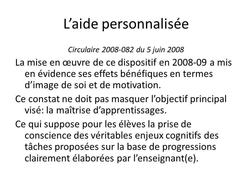 Laide personnalisée Circulaire 2008-082 du 5 juin 2008 La mise en œuvre de ce dispositif en 2008-09 a mis en évidence ses effets bénéfiques en termes dimage de soi et de motivation.