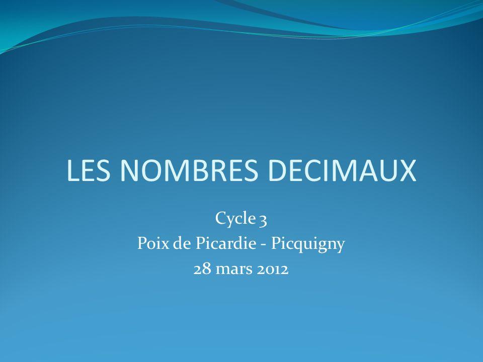 LES NOMBRES DECIMAUX Cycle 3 Poix de Picardie - Picquigny 28 mars 2012