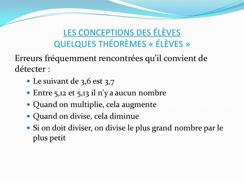 LES CONCEPTIONS DES ÉLÈVES QUELQUES THÉORÈMES « ÉLÈVES » Erreurs fréquemment rencontrées quil convient de détecter : Le suivant de 3,6 est 3,7 Entre 5