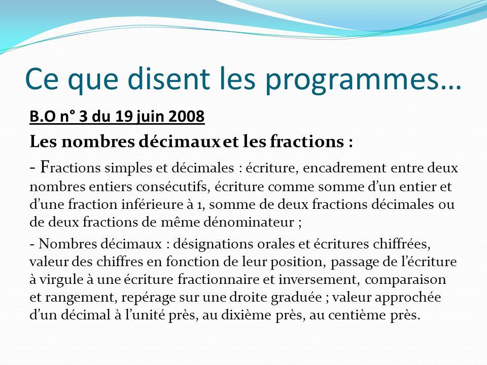 Ce que disent les programmes… B.O n° 3 du 19 juin 2008 Les nombres décimaux et les fractions : - F ractions simples et décimales : écriture, encadreme