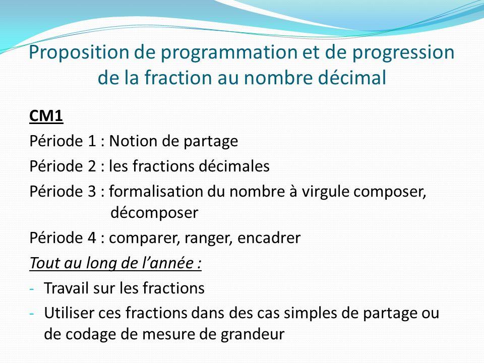 Proposition de programmation et de progression de la fraction au nombre décimal CM1 Période 1 : Notion de partage Période 2 : les fractions décimales