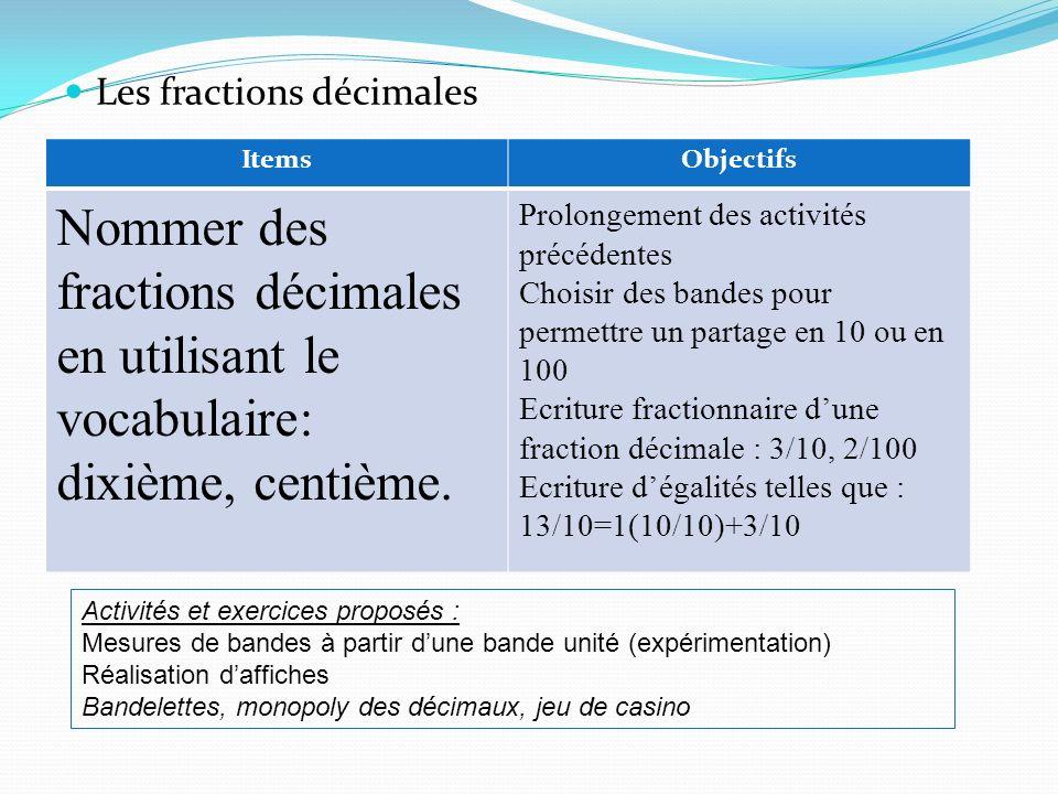 Les fractions décimales ItemsObjectifs Nommer des fractions décimales en utilisant le vocabulaire: dixième, centième. Prolongement des activités précé