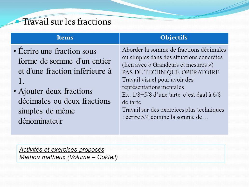 Travail sur les fractions ItemsObjectifs Écrire une fraction sous forme de somme d'un entier et d'une fraction inférieure à 1. Ajouter deux fractions