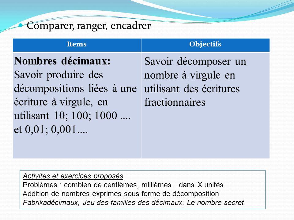 Comparer, ranger, encadrer ItemsObjectifs Nombres décimaux: Savoir produire des décompositions liées à une écriture à virgule, en utilisant 10; 100; 1