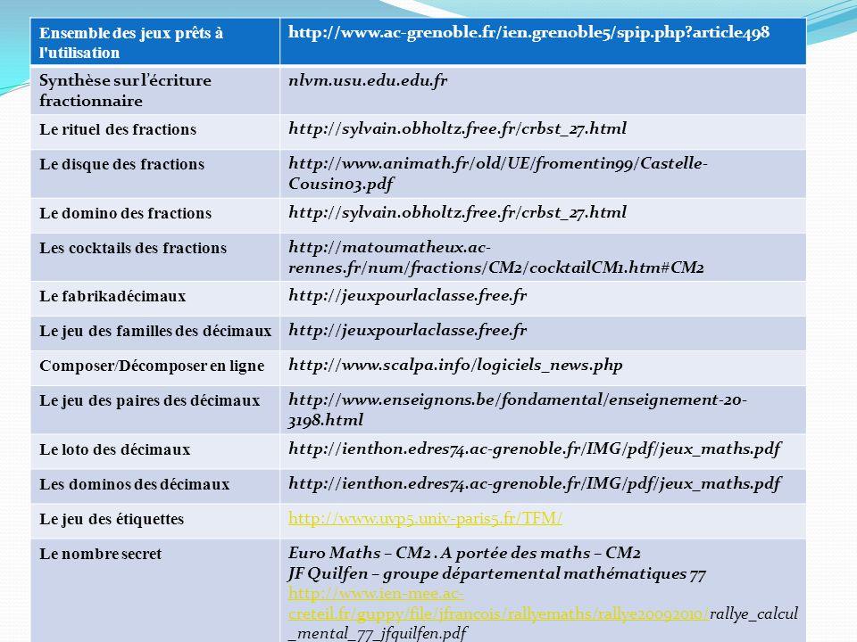 Ensemble des jeux prêts à l'utilisation http://www.ac-grenoble.fr/ien.grenoble5/spip.php?article498 Synthèse sur lécriture fractionnaire nlvm.usu.edu.