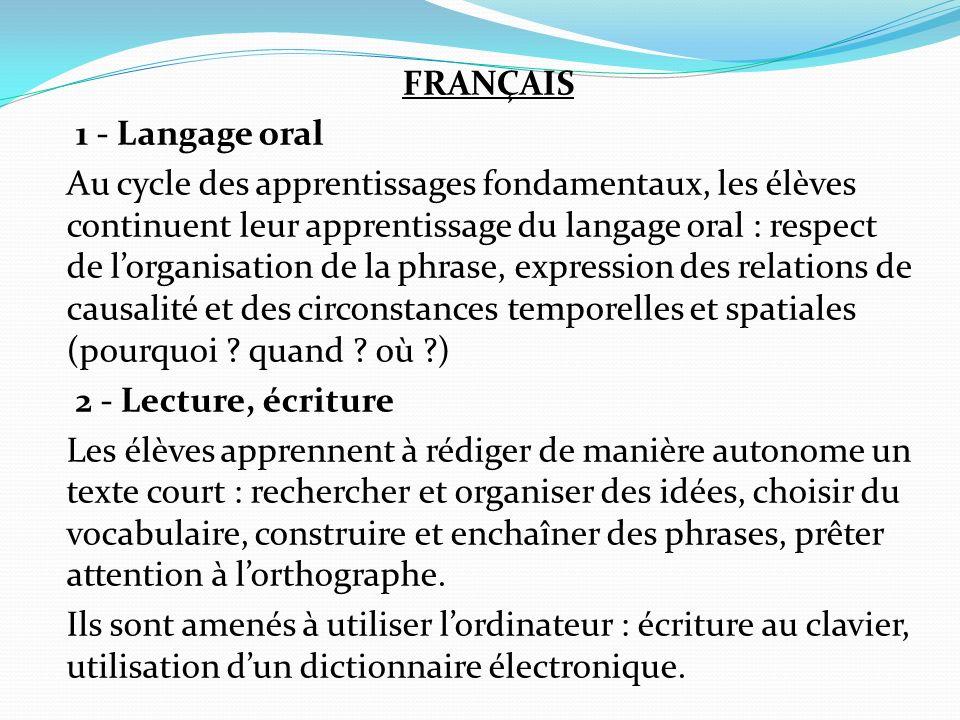 FRANÇAIS 1 - Langage oral Au cycle des apprentissages fondamentaux, les élèves continuent leur apprentissage du langage oral : respect de lorganisatio