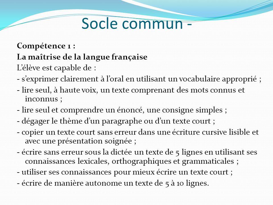 Socle commun - Compétence 1 : La maîtrise de la langue française Lélève est capable de : - sexprimer clairement à loral en utilisant un vocabulaire ap