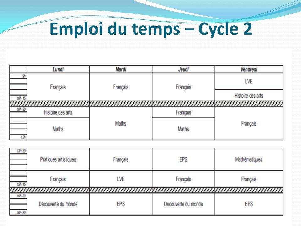 Emploi du temps – Cycle 2