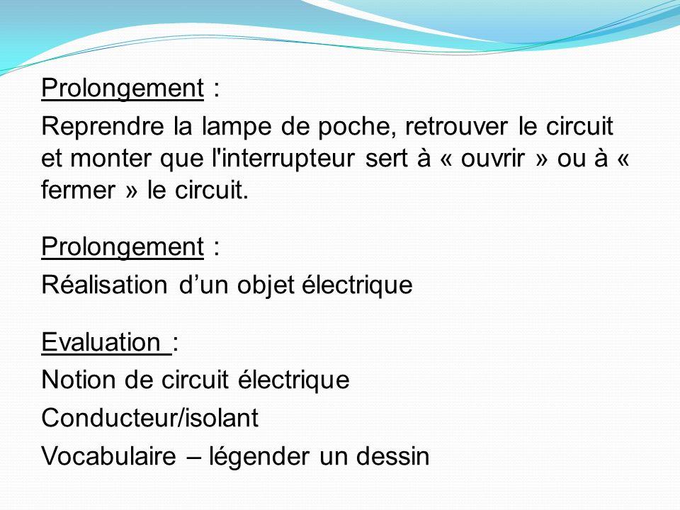 Prolongement : Reprendre la lampe de poche, retrouver le circuit et monter que l'interrupteur sert à « ouvrir » ou à « fermer » le circuit. Prolongeme