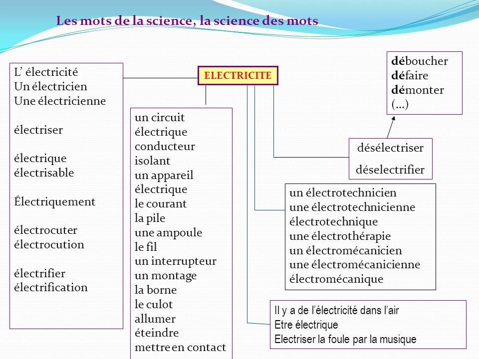 Les mots de la science, la science des mots ELECTRICITE désélectriser déselectrifier L électricité Un électricien Une électricienne électriser électri