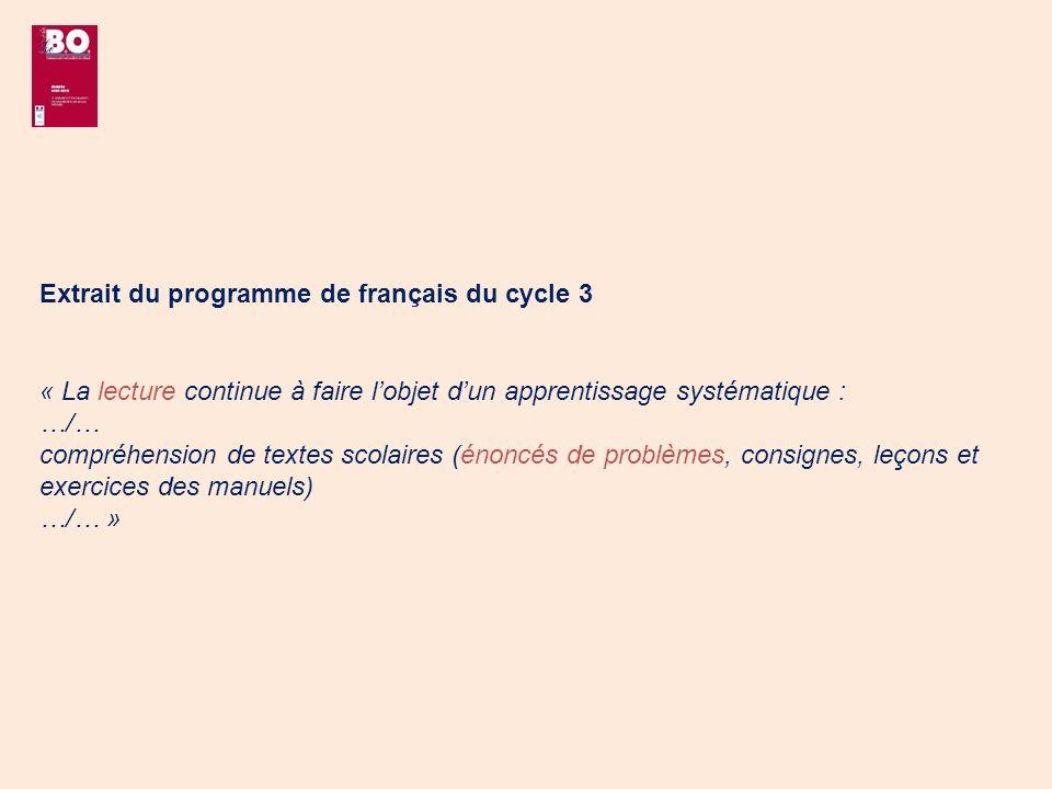Extrait du programme de français du cycle 3 « La lecture continue à faire lobjet dun apprentissage systématique : …/… compréhension de textes scolaire