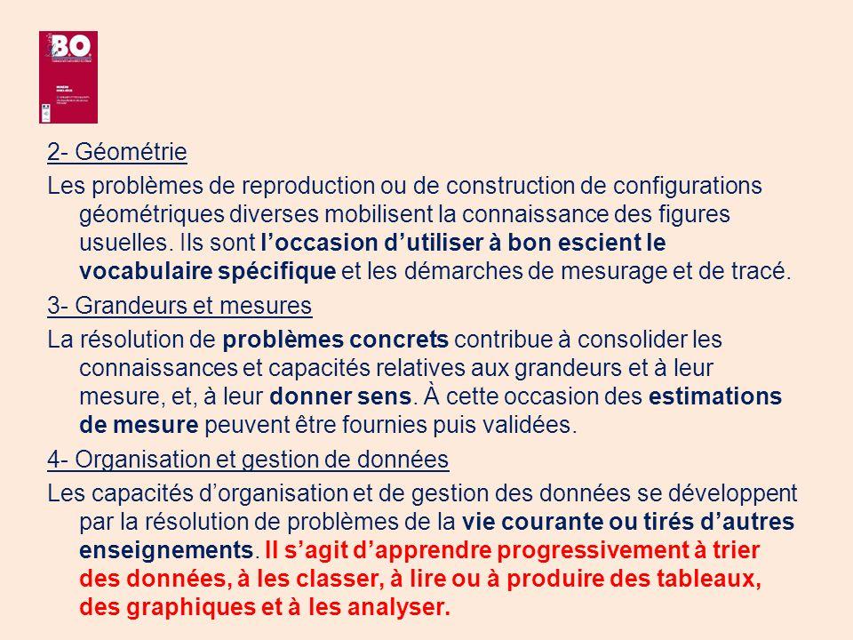 2- Géométrie Les problèmes de reproduction ou de construction de configurations géométriques diverses mobilisent la connaissance des figures usuelles.