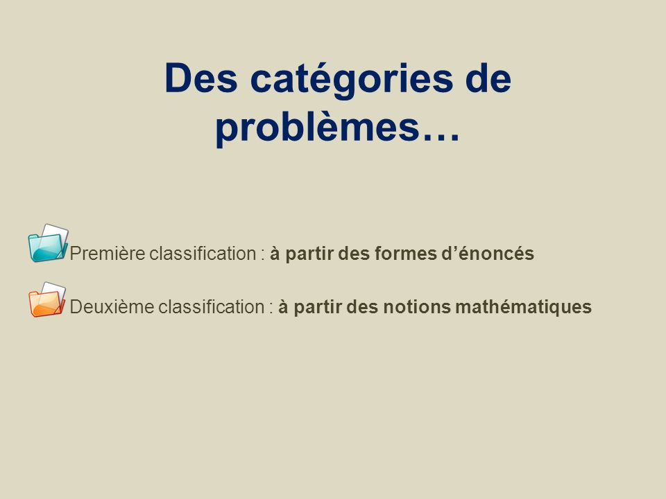 Des catégories de problèmes… Première classification : à partir des formes dénoncés Deuxième classification : à partir des notions mathématiques