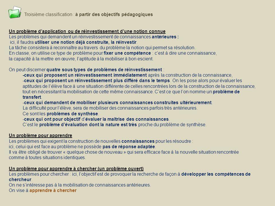Troisième classification : à partir des objectifs pédagogiques Un problème dapplication ou de réinvestissement dune notion connue Les problèmes qui de