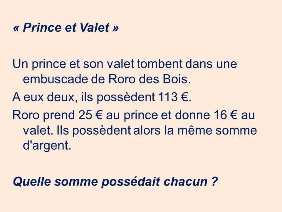 « Prince et Valet » Un prince et son valet tombent dans une embuscade de Roro des Bois. A eux deux, ils possèdent 113. Roro prend 25 au prince et donn