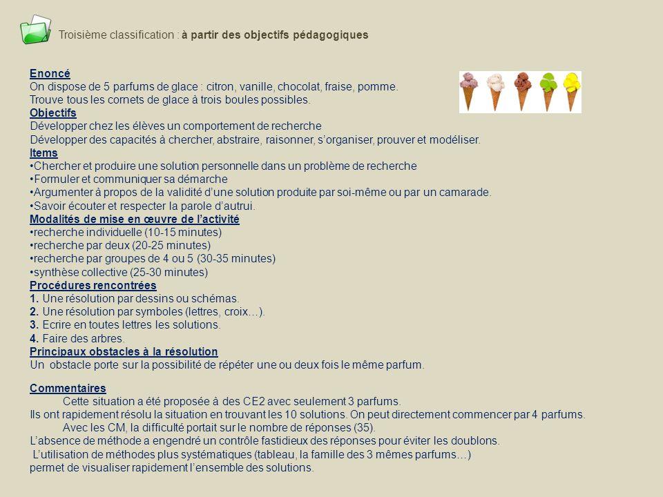 Troisième classification : à partir des objectifs pédagogiques Enoncé On dispose de 5 parfums de glace : citron, vanille, chocolat, fraise, pomme. Tro