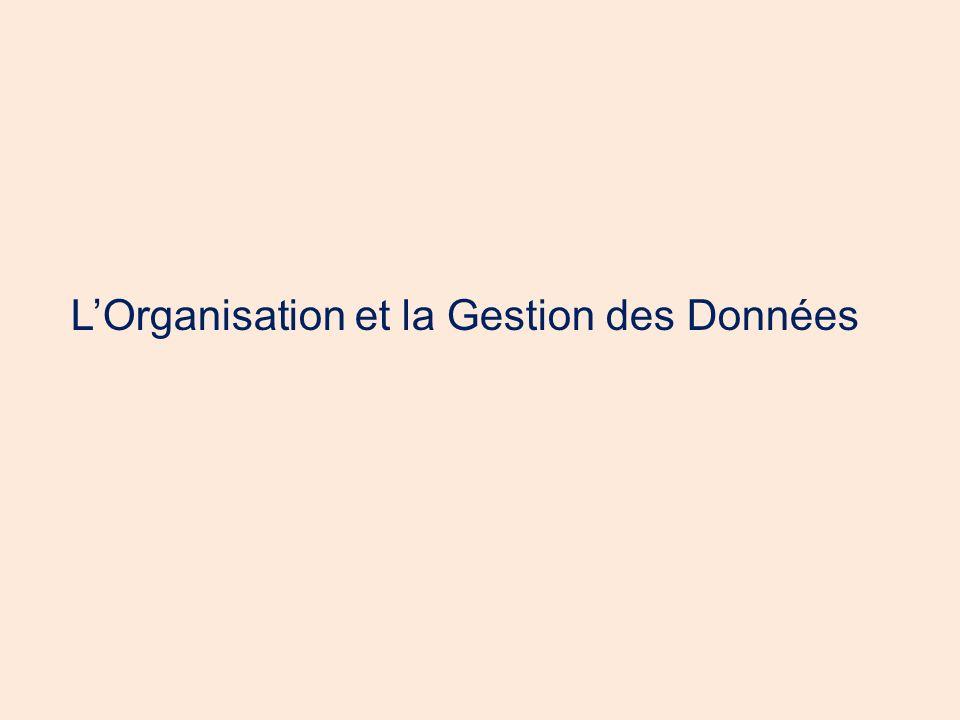 LOrganisation et la Gestion des Données