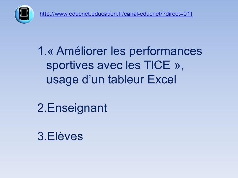 http://www.educnet.education.fr/canal-educnet/?direct=011 1.« Améliorer les performances sportives avec les TICE », usage dun tableur Excel 2.Enseigna