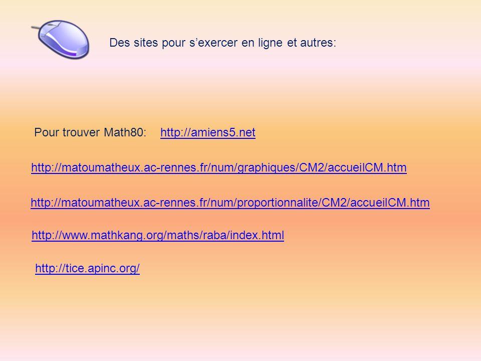 http://matoumatheux.ac-rennes.fr/num/graphiques/CM2/accueilCM.htm http://matoumatheux.ac-rennes.fr/num/proportionnalite/CM2/accueilCM.htm Des sites po