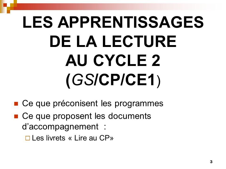 3 LES APPRENTISSAGES DE LA LECTURE AU CYCLE 2 (GS/CP/CE1 ) Ce que préconisent les programmes Ce que proposent les documents daccompagnement : Les livrets « Lire au CP»